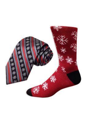 Holiday Ties By Hallmark Men's Snowflake Stripe Tie And Snowflake Socks - Black - Regular - 58 In.