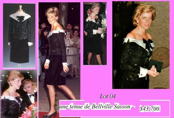 Lot 4 - Belleville-design Sasson. robe de soie noire de satin manchettes blanches. Elle a vendu pour 43.700 $. Diana portait ce hors-la robe épaule pour un concert à Londres à la Barbicon. En Lorcan-Mullany-Sasoon, la chemise est couverte de paillettes tandis qu'une couleur satin blanc et des poignets offre un contraste. Vendu pour 43.700 $ pour le magazine Paris Match. Il a ensuite été donnée en prix aux gagnants du concours des chanceux.