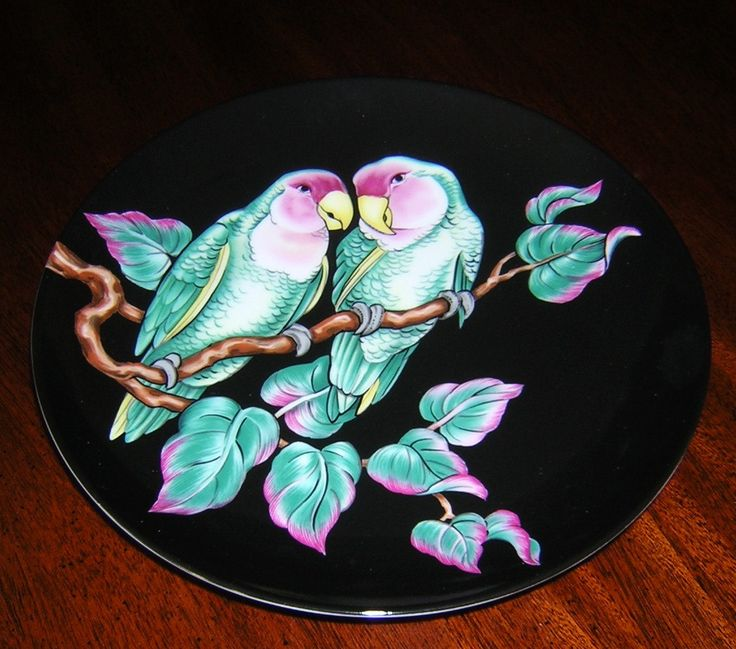 FITZ & FLOYD African Lovebirds Salad/Collectors Plate - pinned by pin4etsy.com