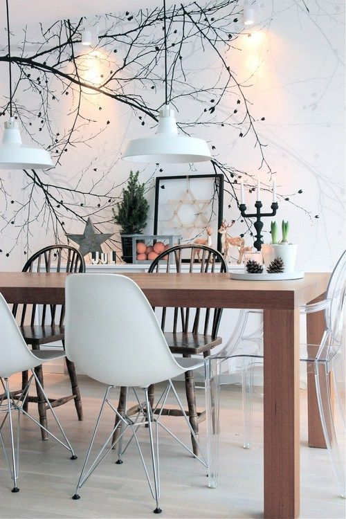 Poetic Black and white tree on the wall  http://norskeinteriorblogger.no/