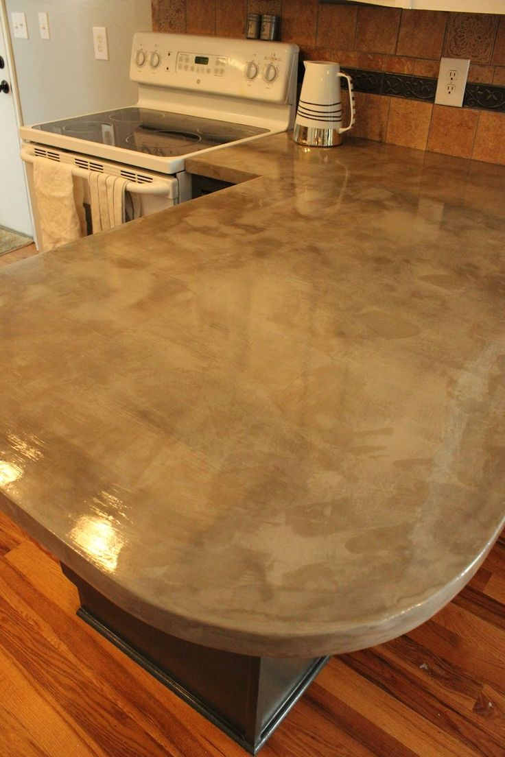 Concrete countertops are on-trend right now, for many people even replacing  the granite