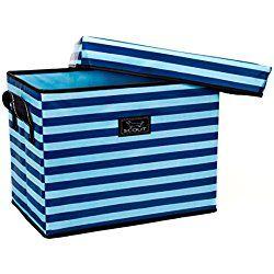 SCOUT Rump Roost Medium Lidded Nursery Storage Bin, Blue Jean Baby