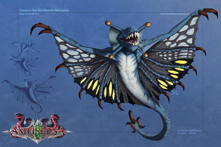 Amfisbena - Sea Bat (morski nietoperz), James 'Kaktus' Balewicz on ArtStation at https://www.artstation.com/artwork/WQBBy