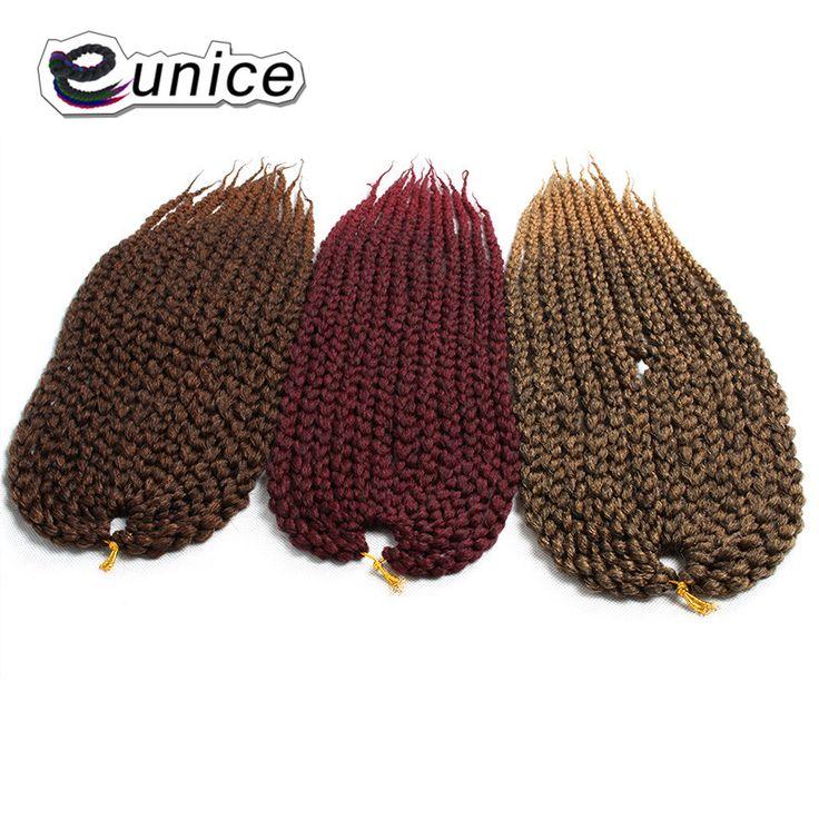 EUNICE Hair Afri Natural 3D Cubic Twist  12 strands/pc Synthetic Split Twist Crochet kanekalon Braiding Hair in Ombre brown/bug