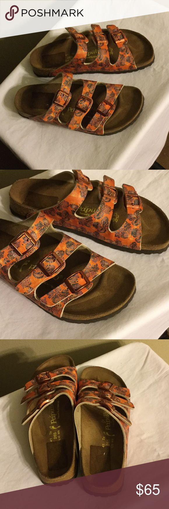 Papillio  Florida Orange Paisley Sandals Very nice Sandals Floral Florida style Papillio.  Only worn one time.  Buckles are rose gold and sandals are orange color.  (No Box). Feel free to ask any questions. Birkenstock Shoes Sandals