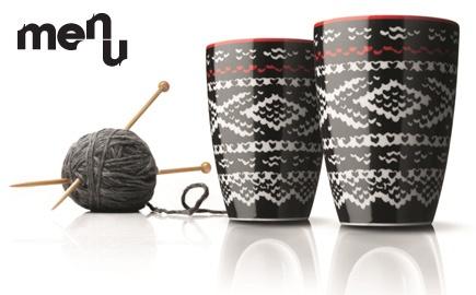 "<3 Coffee mugs with the traditional Norwegian knitting pattern ""Marius"""
