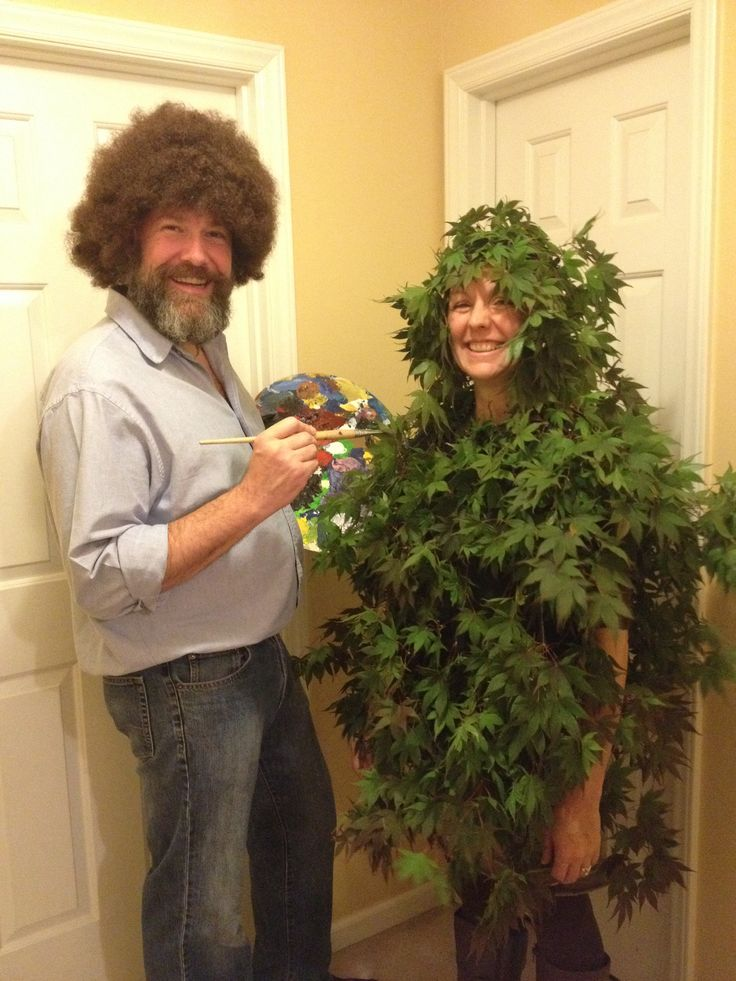 Bob Ross and his happy little tree! Hot glued tree trimmings to old t-shirt and fabric scrap used as a head wrap.