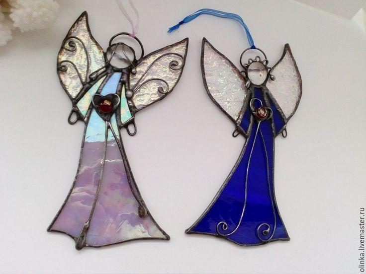 Купить Ангелы витражные-Ангелы хранители-3 - витражный ангел, синий ангел, розовый ангел