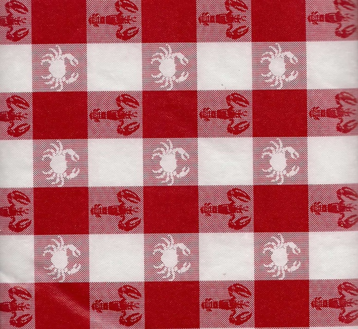 Red White Check Tablecloth Vinyl Lobsters Crab Flannel Back Picnic  Tablecover Gingham