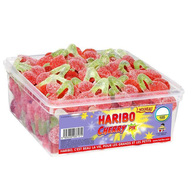 Boite de bonbons cerise qui pique 105 pièces à 8€, cliquez sur l'image pour voir #bazarchic #haribo #cherry #cerise #food #candy #candies