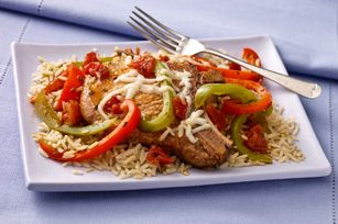 30 minute Italian Pork Chop Dinner with brown rice. Quick and a healthy living choice!