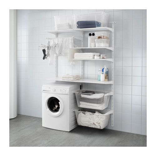 IKEA - ALGOT, Wall upright/shelves/drying rack, The parts in the ALGOT series can be combined in many different ways and easily adapted to your needs and space.Perfect by your washing machine and dryer because it gives you plenty of room to hang, fold and sort your laundry.You can sort your clothes in the smooth-gliding baskets, and since the shelves withstand damp areas, the storage solution is suitable for both bathrooms and laundry rooms.Since you only need to click in the bracke...
