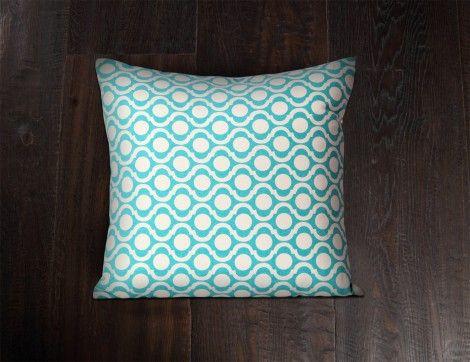 Turquoise Ikat Cushion Cover