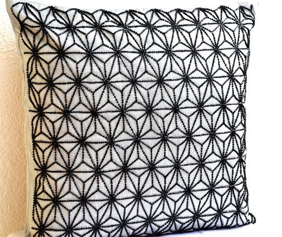 Grey throw pillows with detailed black embroidered by AmoreBeaute