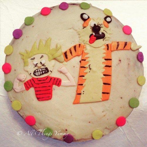 Cartoon Cakes - Calvin and Hobbes Cake | Off White Icing Cake with Calvin and Hobbes and Candies | All Things Yummy #allthingsyummy #cartoon #cakes #calvinandhobbes