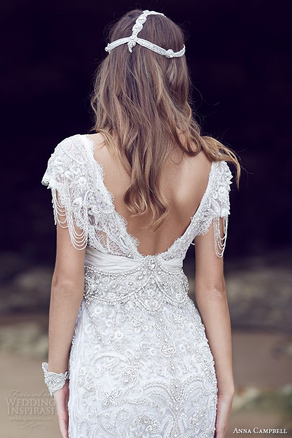 anna campbell 2015 bridal dresse cap sleeves v neckline beaded embellished bodice gorgeous fit to flare mermaid wedding dress sierra back view close up