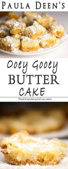 "Paula Deen's Ooeg Gooey Butter Cake When you hear the word ""butter"" who do you think of?  Paula Deen?  Me too.  I have never made a single recipe from Paula Deen (sorry Paula!  I still like ya'll!) but I have seen this Paula Deen's Ooey Gooey Butter Cake pinned so many times that I couldn't resist.  I have also seen this pinned as ""The Original Neiman Marcus Bars"" and ""Texas Gold Bars"".  Whatever you call them, they ARE ooey, they ARE gooey and they definitely have a rich, buttery flavor eve"