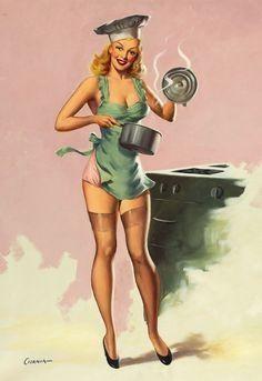 Vintage Pinup Girl cooking art