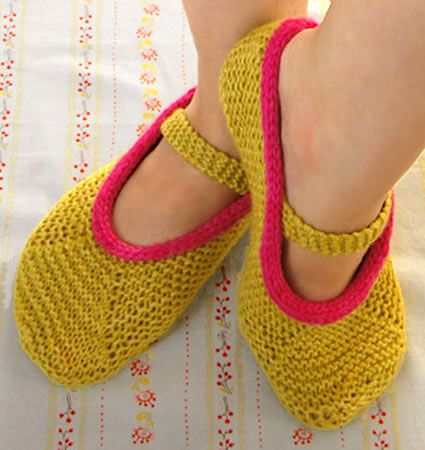 The pattern for these knitted slippers, here -  http://www.purlbee.com/mary-jane-slippers/