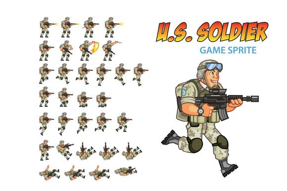 U.S. Soldier Game Sprite by Gagu on Creative Market