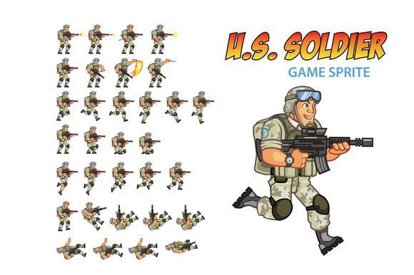 U.S. Soldier Game Sprite by Gagu on Creative Market