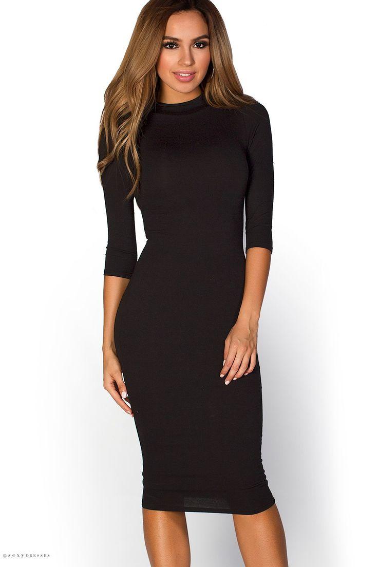 Midi Length High Neck Bodycon Black Dress with Sleeves
