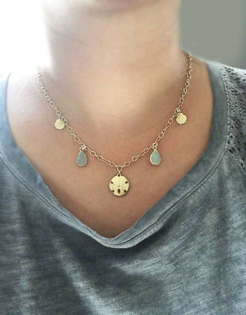 Summer necklace Sand dollar Charm Sand dollar necklace
