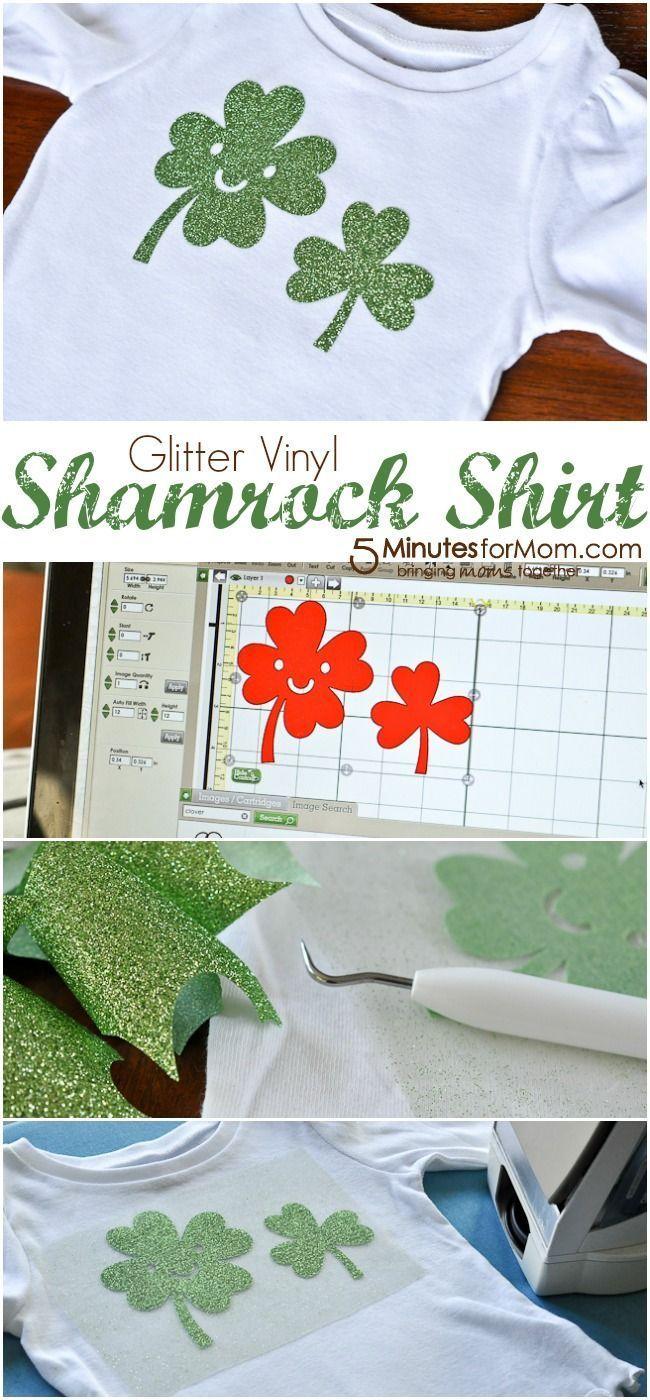Glitter Vinyl Shamrock Shirt - Easy DIY shirt for kids for St. Patrick's Day
