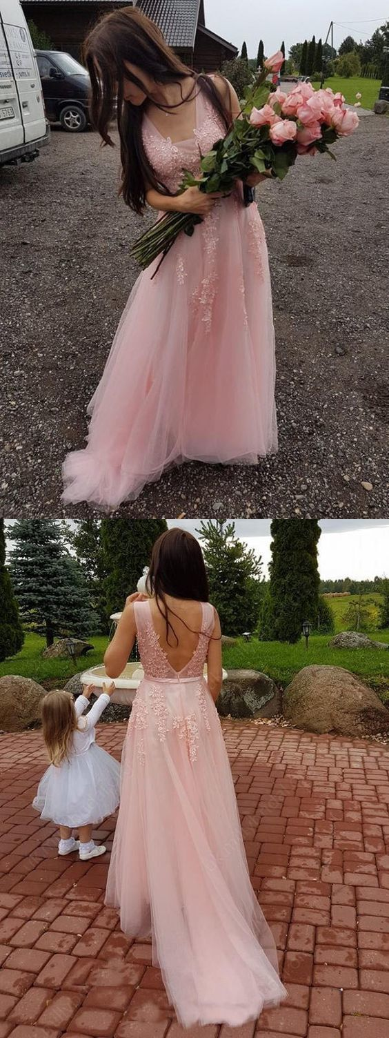 Elegant pink formal party dresses with appliques, chic plunging prom evening