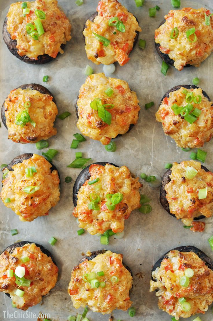 Cheesy Shrimp Dip Stuffed Mushrooms ~ Great appetizer recipes for entertaining