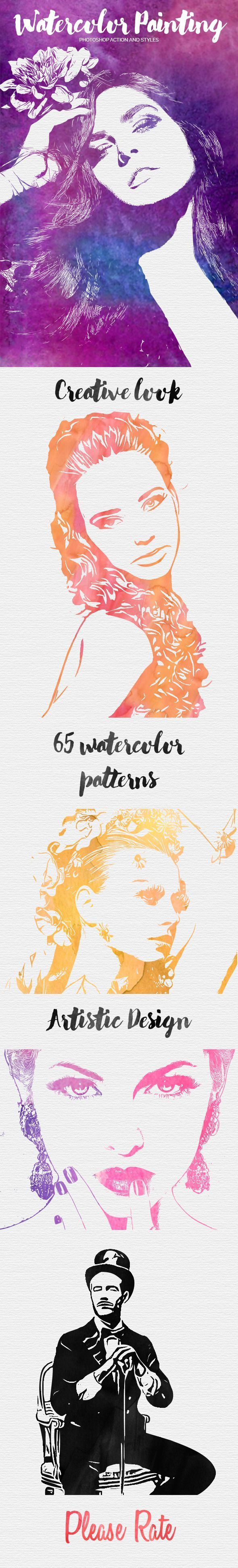 Watercolor Painting Photoshop Action - Photo Effects Actions