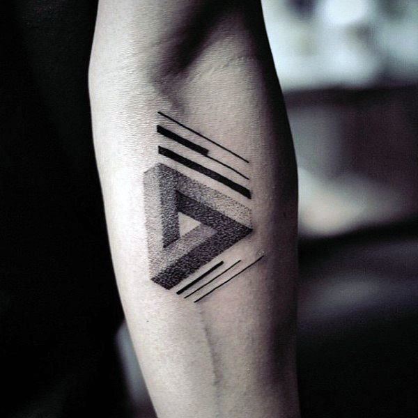 Cool Interlocked Guys Triangle Tattoo On Inner Forearm
