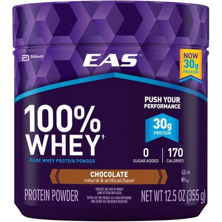 EAS Chocolate 100% Pure Whey Protein Powder, 12.5 oz, (Pack of 4)