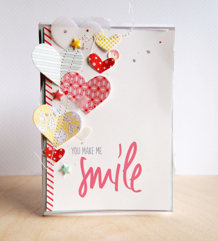 Scrapbooking Kits, Paper & Supplies, Ideas & More at StudioCalico.com! Love the hearts and the stitching - such a cute card by cjolson!!
