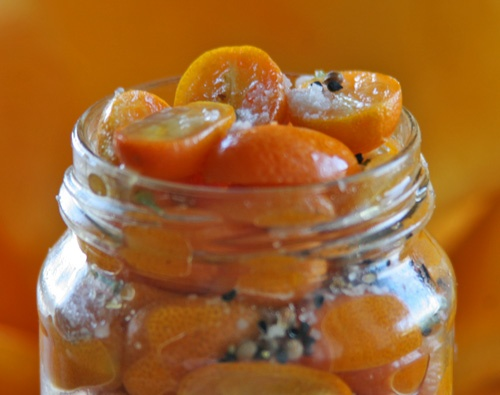 pickled cumquats - http://vegeyum.wordpress.com/2009/10/17/pickledcumquats/