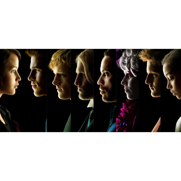 Eight Character Posters for THE HUNGER GAMES CrazyCritics ❤ liked on Polyvore featuring hunger games, the hunger games and thg