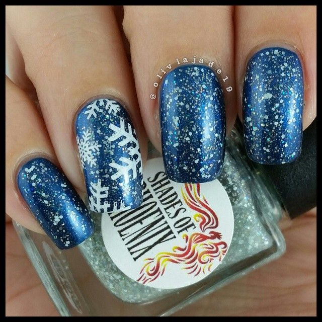 Polishes: Shades Of Phoenix Tinsel Tease over OPI Unfor-greta-bly Blue