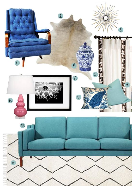 Best Bold Blue Living Room With Mid Century Modern 400 x 300