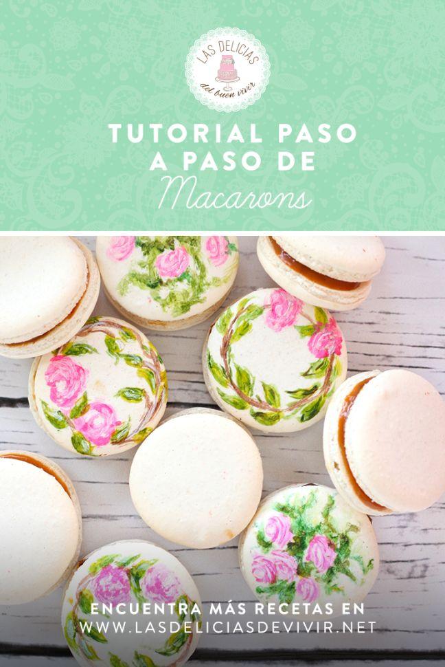 Excelente tutorial con fotos paso a paso de cómo hacer macarons perfectos pintados a mano