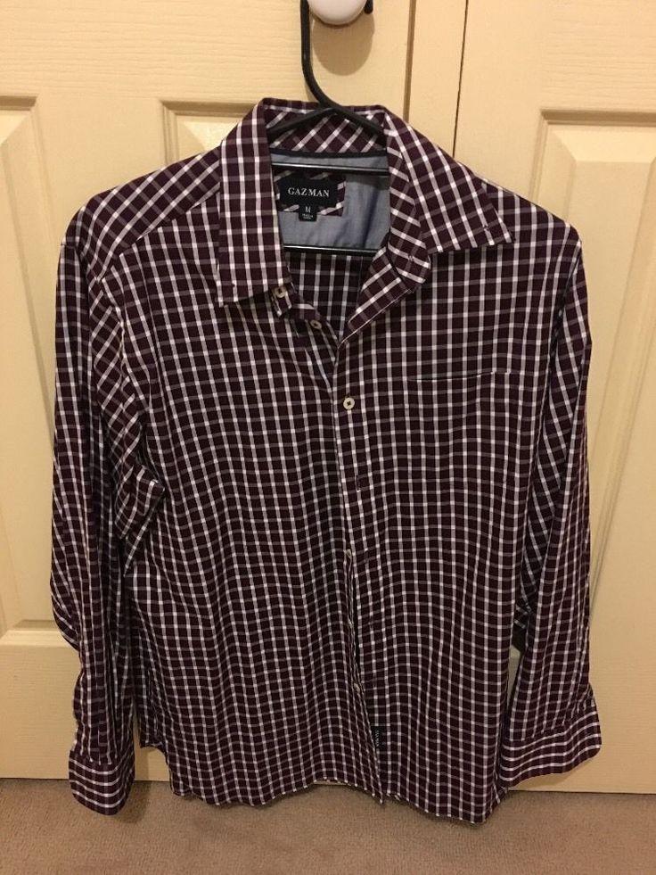 GAZMAN Men s Purple/White Stripe, Long Sleeve Shirt Brand New Condition