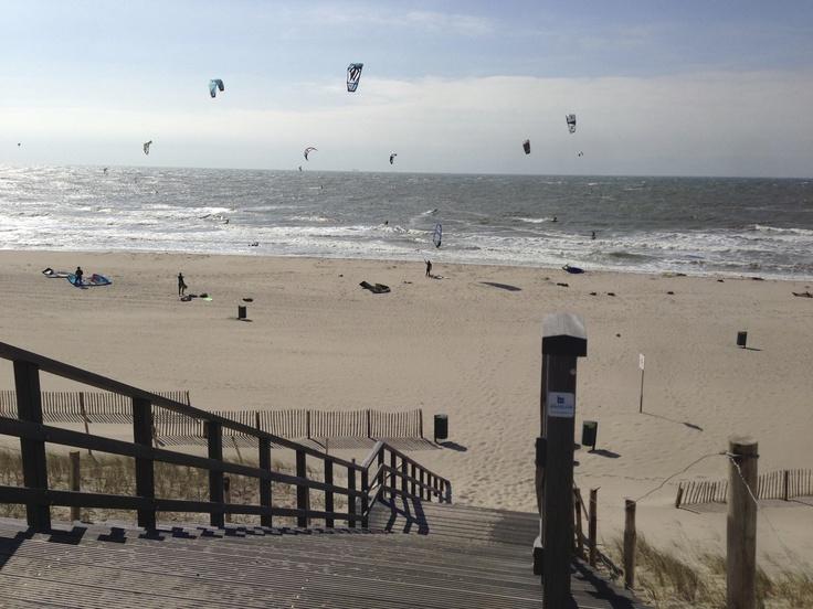 Kitesurfing on the beach of the 2nd Maasvlakte in Rotterdam