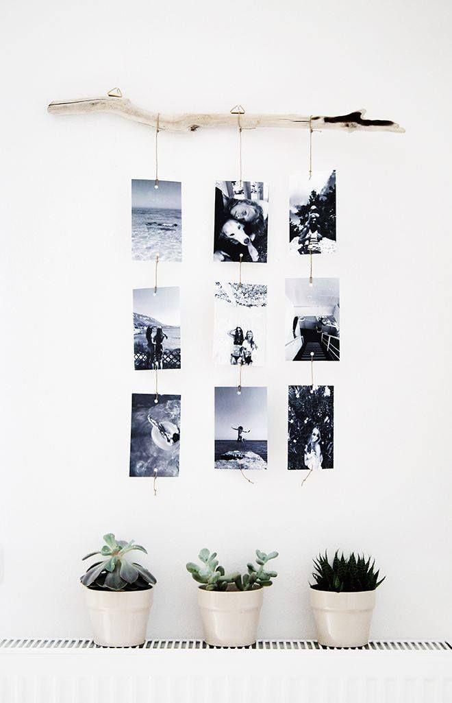 DIY photos hanging on driftwood