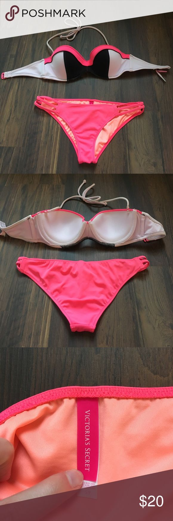 Victoria's Secret pink bikini set 32D/small Good condition, clean and only worn a few times. Hand washed. Great fit and coverage. Very minor discoloration from sunscreen on top. Victoria's Secret Swim Bikinis