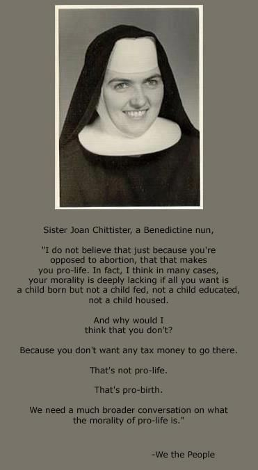 """I am Pro-Choice, and I 100% agree with this woman. This is mainly the reason that I am pro-choice. People will fight for this unborn fetus, saying that doctors are denying its basic human rights if the mother chooses to abort it. What do they care once the baby is born? Once they have done """"God's will"""" and their hands are wiped clean. They then deny the child what is necessary for life."""