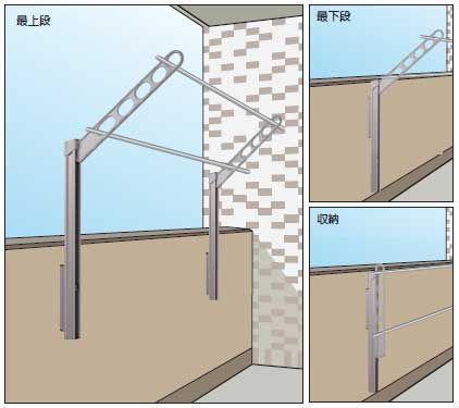 物干し竿をかけたまま高さの調整や収納ができる屋外ベランダ物干し(ホスクリーン)