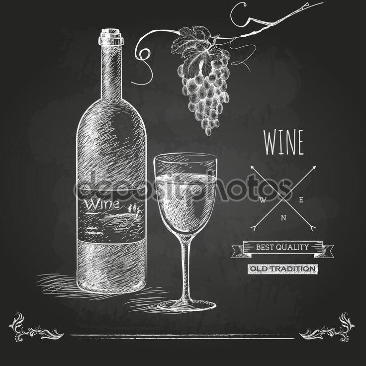 Tema del vino: botella, copa, uvas. Dibujado a mano.