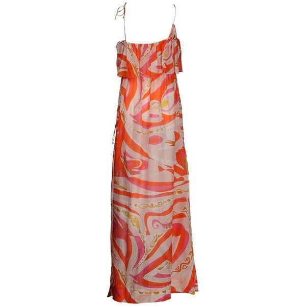 Emilio Pucci Orange Print Silk Cotton Maxi Dress ($500) ❤ liked on Polyvore featuring dresses, beach dresses, cotton beach dresses, colorful maxi dress, orange maxi dress and maxi dresses