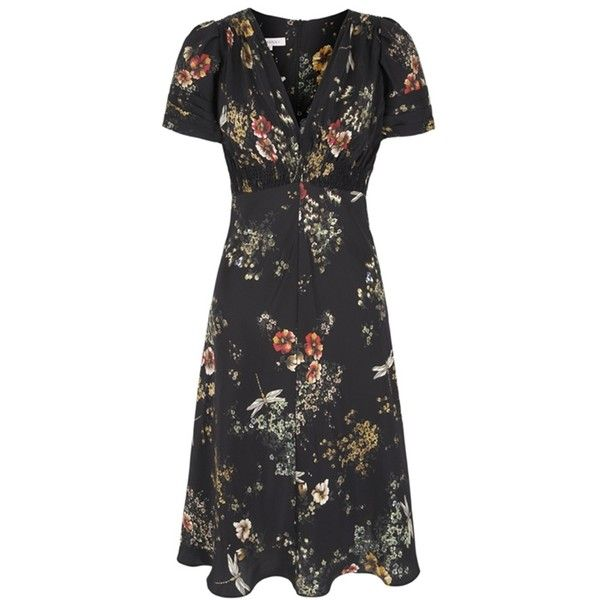 30s Dragonfly Print Tea Dress (36.985 RUB) ❤ liked on Polyvore featuring dresses, day dresses, vestidos, smock dress, tea party dresses, vintage tea party dress, smocked dresses and nude dress