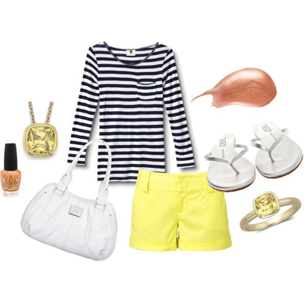 Navy Stripe / Yellow Shorts, created by melissa-whitaker-whiteley.polyvore.com