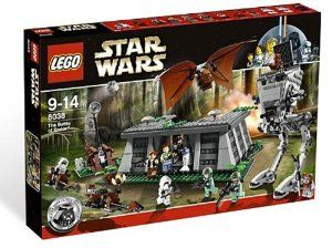 LEGO Star Wars The Battle of Endor (8038) by LEGO. $164.99. Imperial bunker measures 10 inches (25.4cm) long by 7.5 inches (19.1cm) wide. Firing catapult, Ewok glider and 2 speeder bikes also included. Also packes with 2 Rebel commandos, 2 scout troopers, Death Star Trooper, and 3 Ewoks). It contains 890 pieces. Imperial bunker has sliding doors and explosion function. Packed with 12 minifigures (Han Solo, Princess Leia, Chewbacca, R2-D2 (classic deco). AT-ST sco...